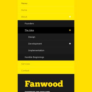Mobile compatible view of drop-down menus.