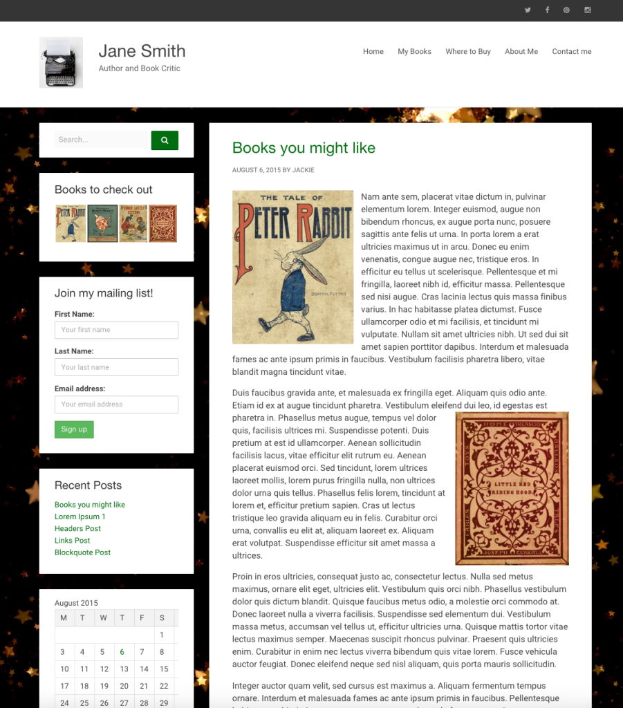 screenshot of sample site